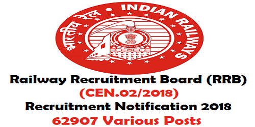 RRB (CEN.02/2018) Recruitment 2018 for 62907 Posts