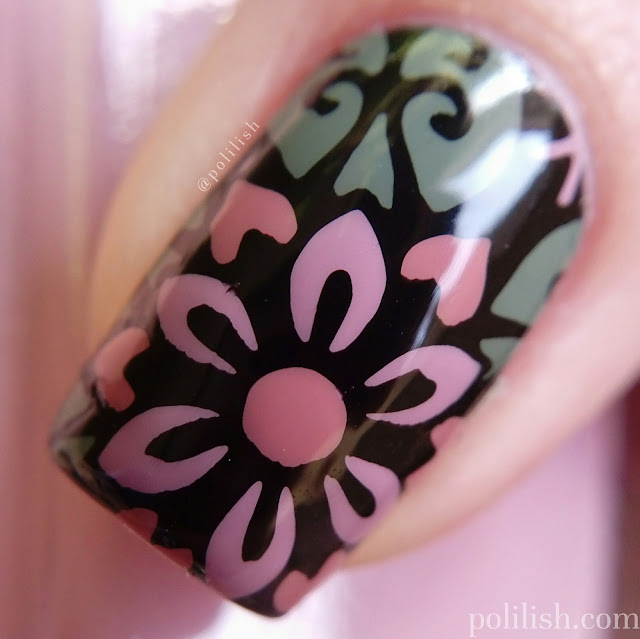 Floral nail art with Born Pretty Store stamping plate | polilish