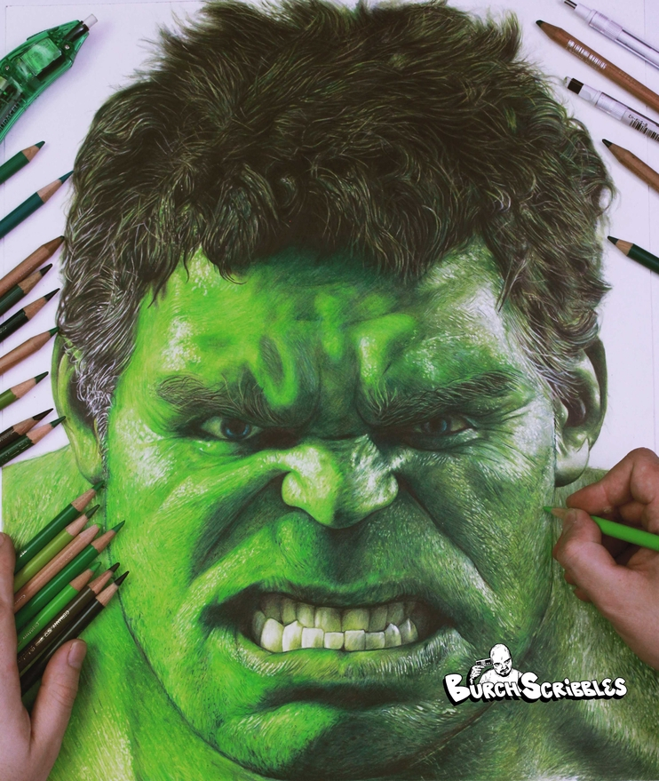 07-Dr-David-Banner-The-Hulk-Burch-Scribbles-Photo-Realistic-Drawings-of-Celebrities-and-Friends