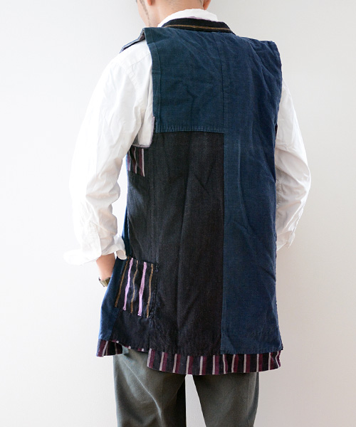 野良着 FUNS ベスト 藍染 裏継ぎ接ぎ アンティーク着物 ジャパンヴィンテージ 襤褸 boro