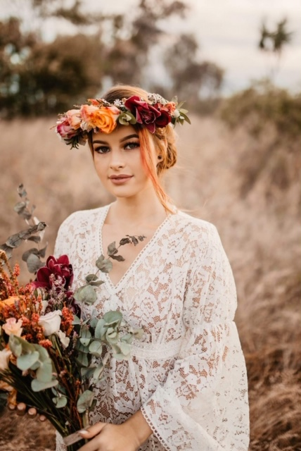 hunter and co photography bridal gown wedding style florals