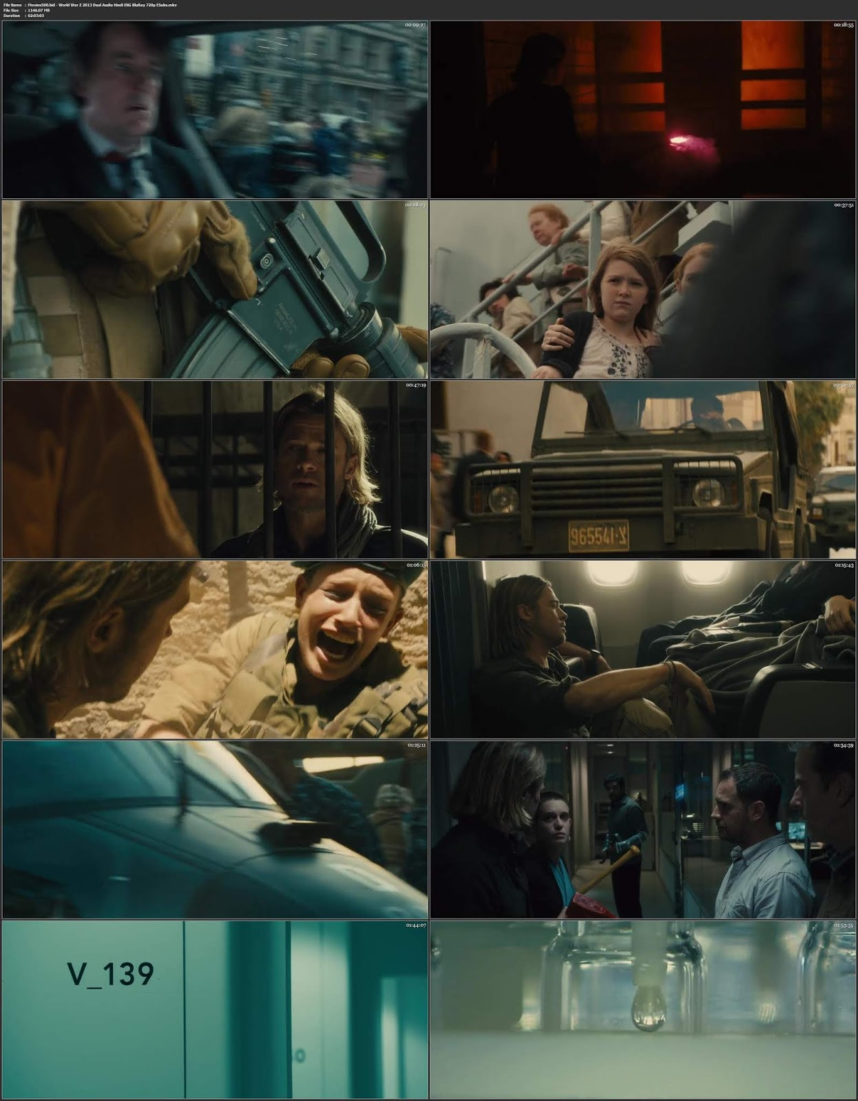 World War Z 2013 EXTENDED UNCUT Dual Audio Hindi ENG BluRay 720p ESubs