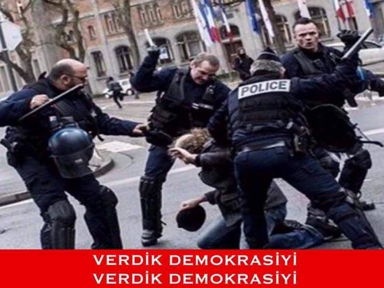 Fransa polisi demokrasi isteyen vatandaşlarına demokrasiyi itina ile verirken.