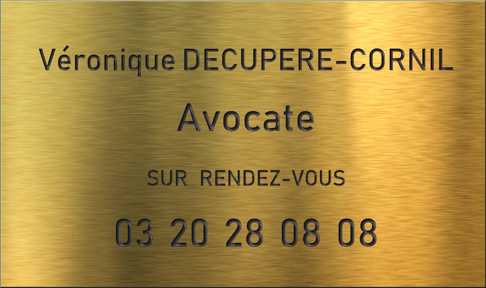 Plaque professionnelle Decupere-Cornil Avocate