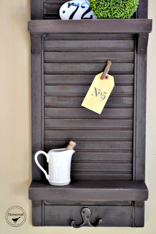 Shutter shelf with pitcher