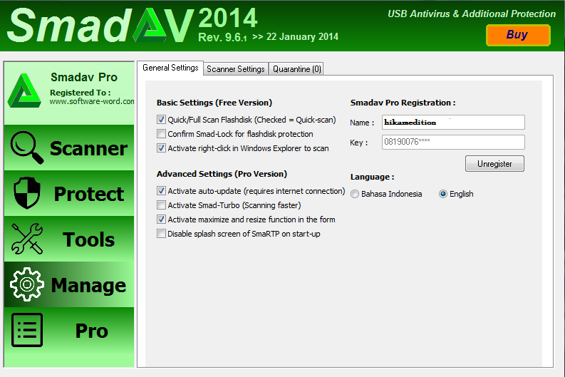 Download SmadAV Pro Rev. 9.6.1 2014 Full Keygen