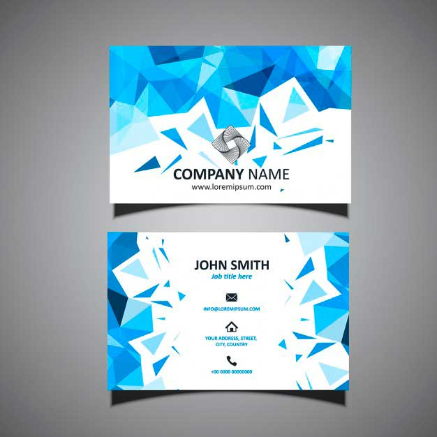 Blue Business Card - Polygonal Shapes