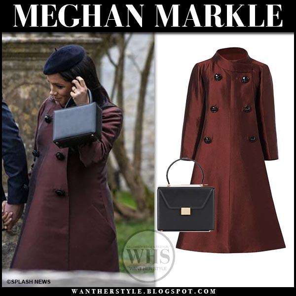 Meghan Markle In Burgundy Coat With Black Box Bag At