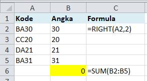 Hasil Formula RIGHT Text