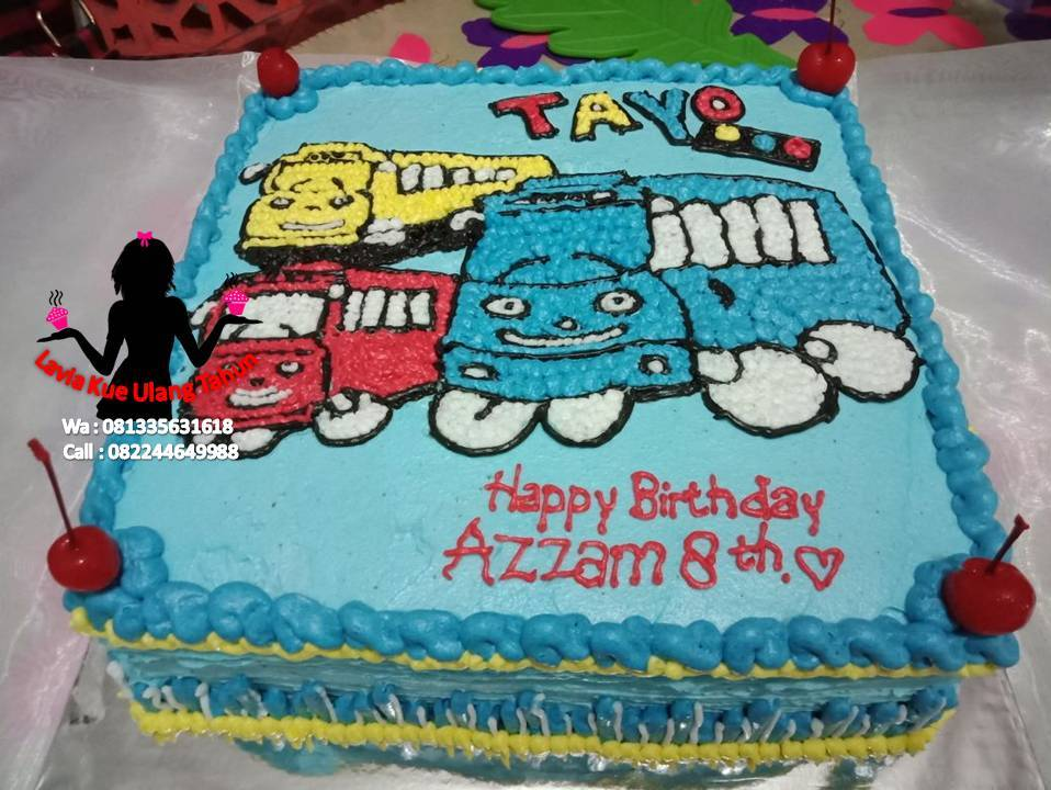 Kue Ulang Tahun Sidoarjo Surabaya Cake Tart Karakter Tayo The Little Bus Special For Azam