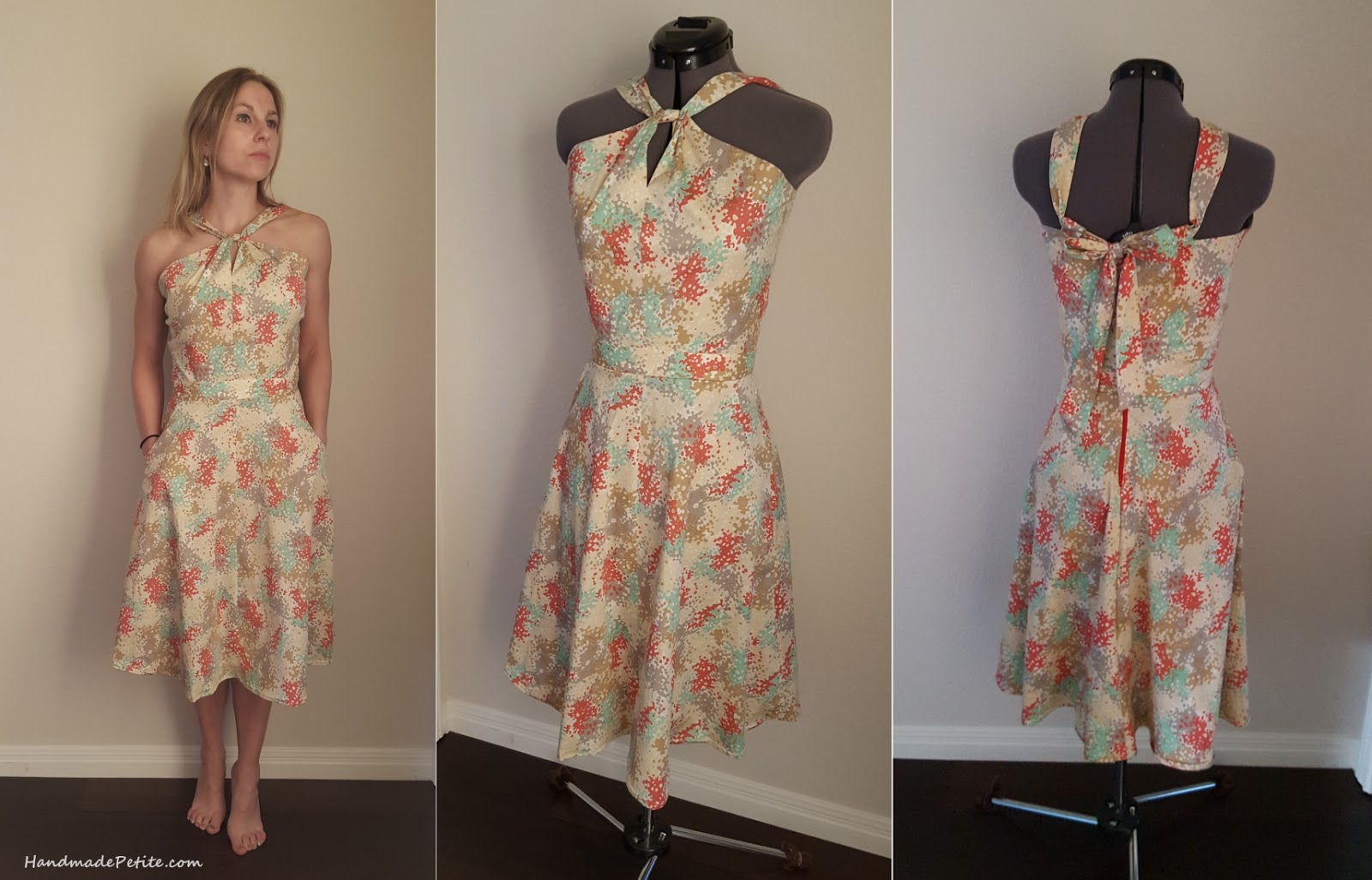 Sewing summer dress from Sewaholic Lonsdale pattern in yellow, red, green, gray color