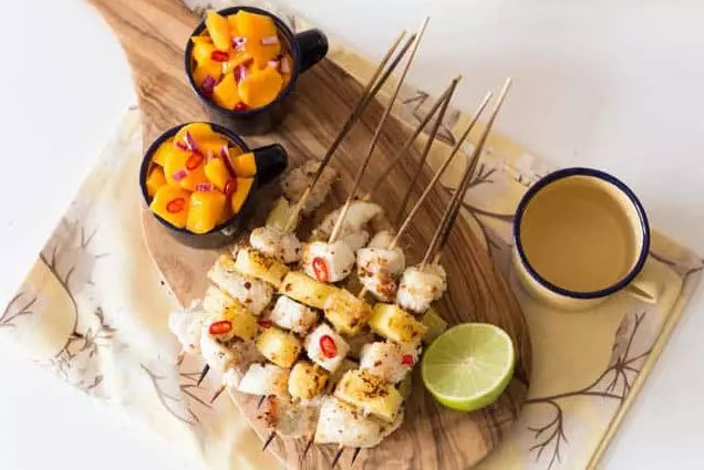 Coconut Encrusted Pineapple And Fish Kebabs With Mango Salsa