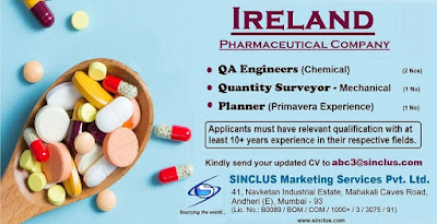 Pharmaceutical Company Gulf jobs walkins for Ireland text image