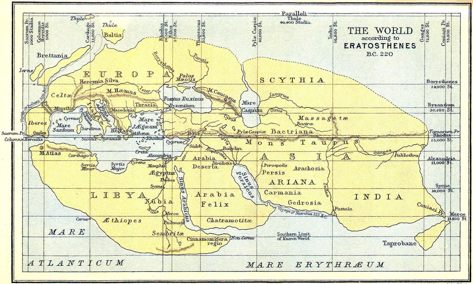 The World according to Eratosthenes (BC 220)
