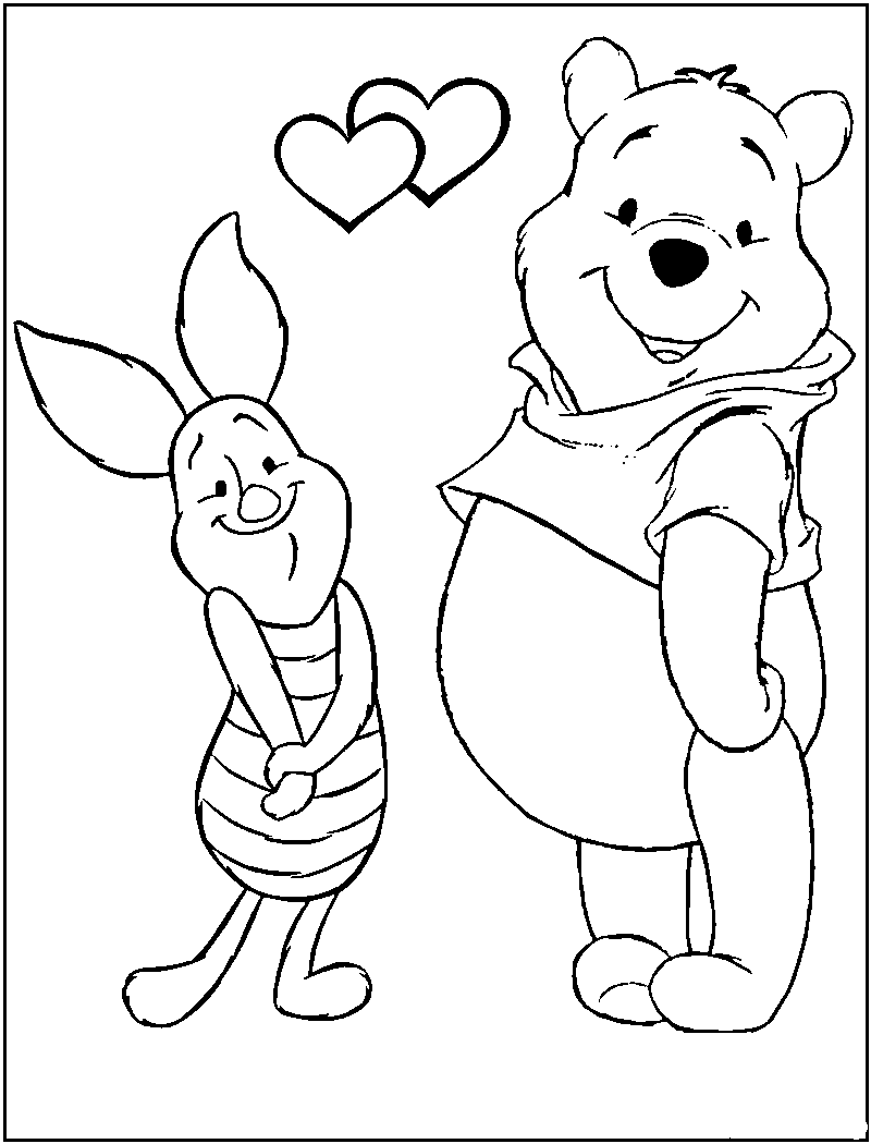 pooh valentine day coloring pages - photo#10