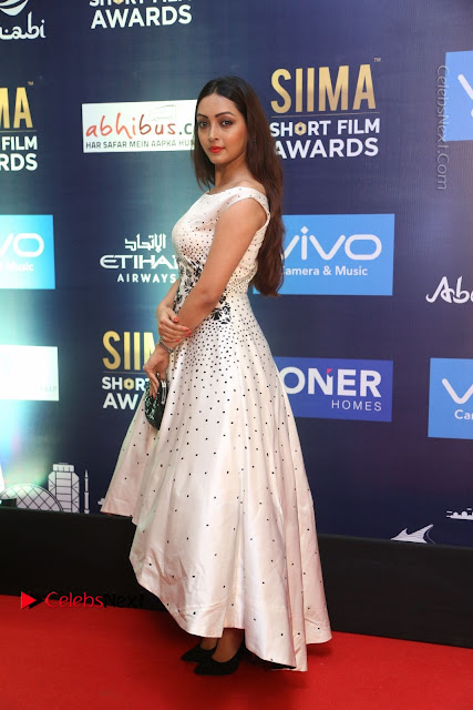 Actress Pooja Salvi Stills in White Dress at SIIMA Short Film Awards 2017  0001