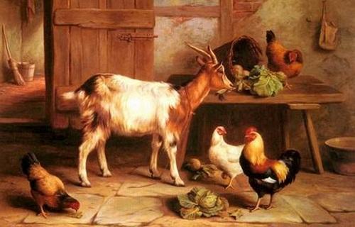 keçi ve tavuklar yağlı boya tablosu