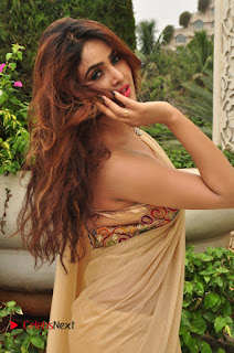 Actress Sony Charishta Pictures in Saree at Aura Fashion Exhibition Launch  0065