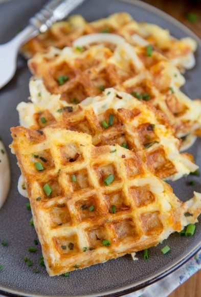 EGG AND CHEESE HASH BROWNS WAFFLES