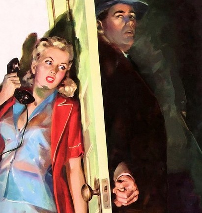 Cover for Murder is the pay off. A 1950s pulp fiction illustration of a frightened woman, holding a phone behind a door as stranger walks into the house.An Exciting Offer and Other stories of Marketing the American Dream. marchmatron.com