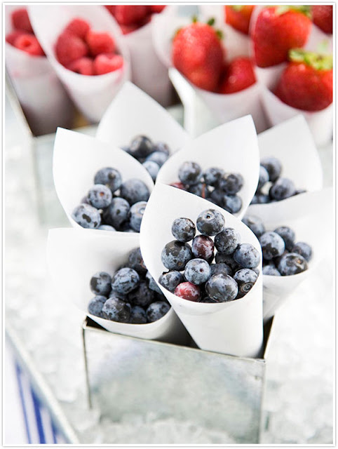 Strawberries and blueberries are festive fruits to serve at a Memorial Day party.