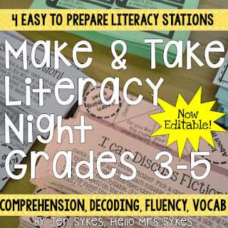 Need activities for parents? Make and Take Literacy Activities for grades 3-5 are minimal prep - just print, copy, and go! Link to freebie in blog post from Hello Mrs Sykes