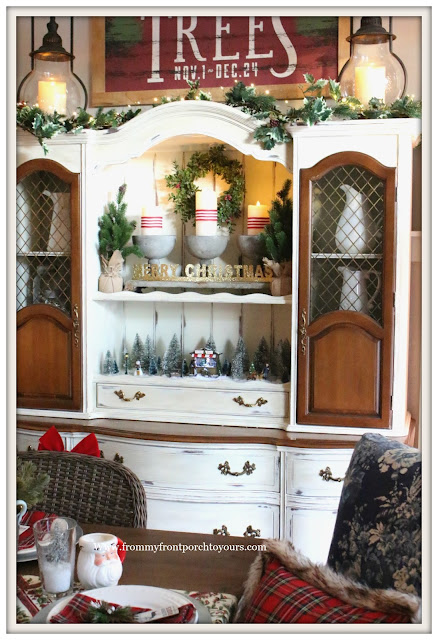 French Country Farmhouse Christmas Dining Room-Christmas Vigentte-Hutch-From My Front Porch To Yours
