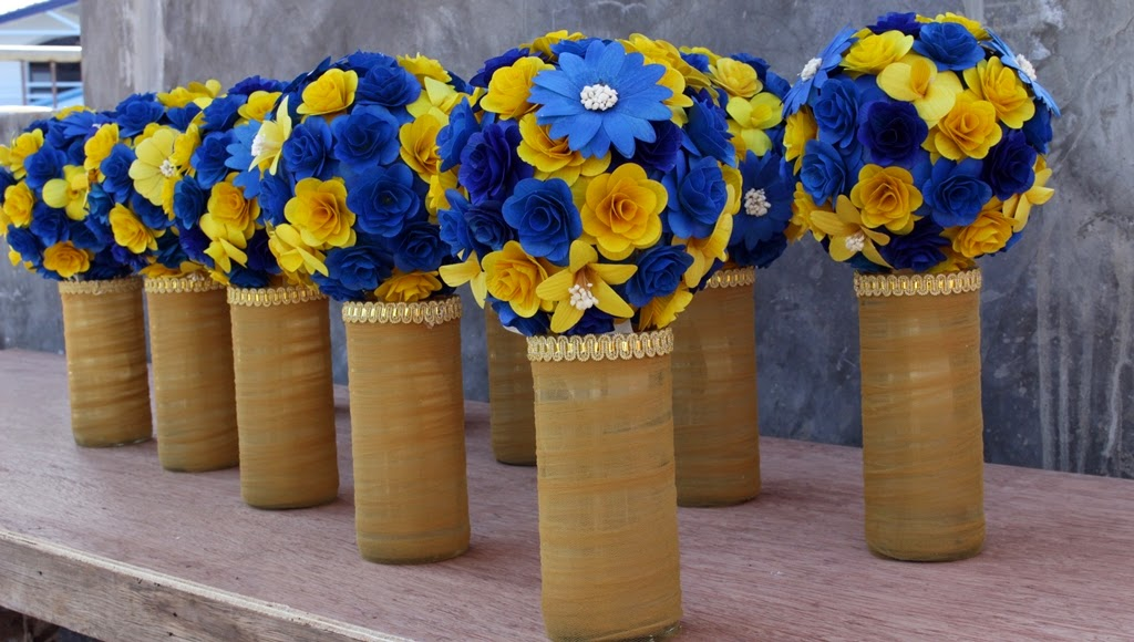 Royal Blue And Yellow Wedding Bouquets Pomanders Corsages Boutonnieres Made Of Wooden Flowers Reduce Reuse Recycle Replenish Re