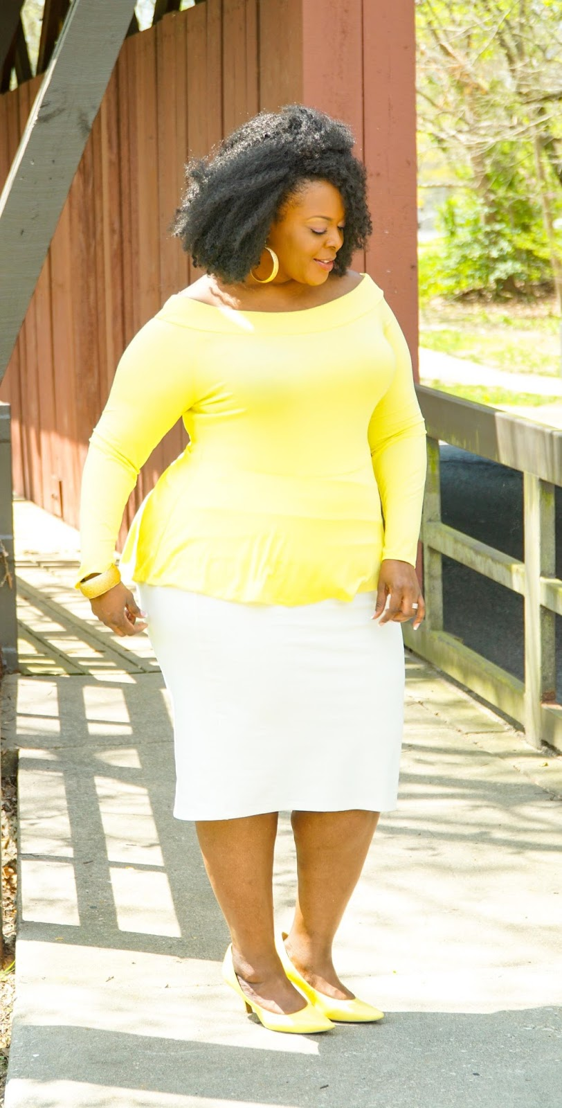 fashion to figure, plus size peplum top, yellow peplum top, plus size tops