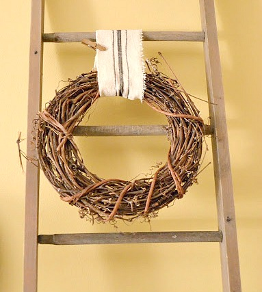 ladder with grapevine wreath