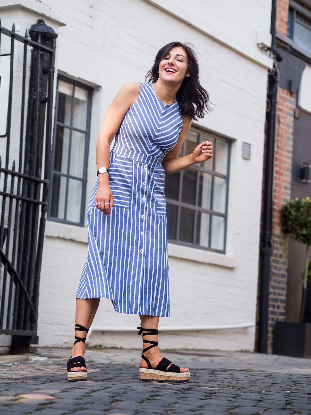 Warehouse Chevron Stripe Midi Dress