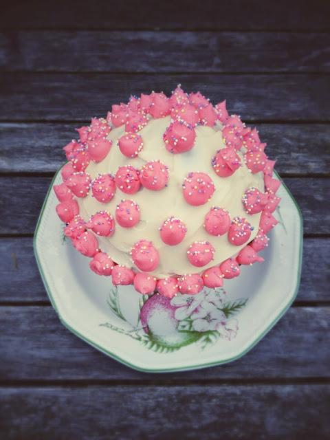 giant pink cupcake cake