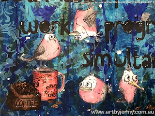 close up of the coffee and mug with the Crazy Birds