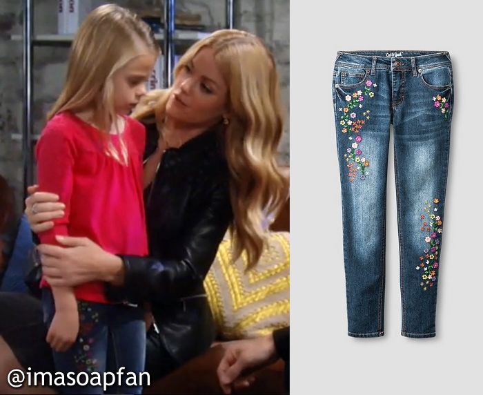 Floral Embroidered Blue Jeans, Charlotte Beaulieu, General Hospital, GH, Scarlett Fernandez,