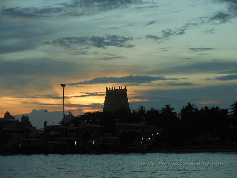 Temple at Rameswaram during sunset, Tamil Nadu