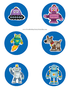 Free Robot Birthday Party Printables- Mason Jar Lid Template