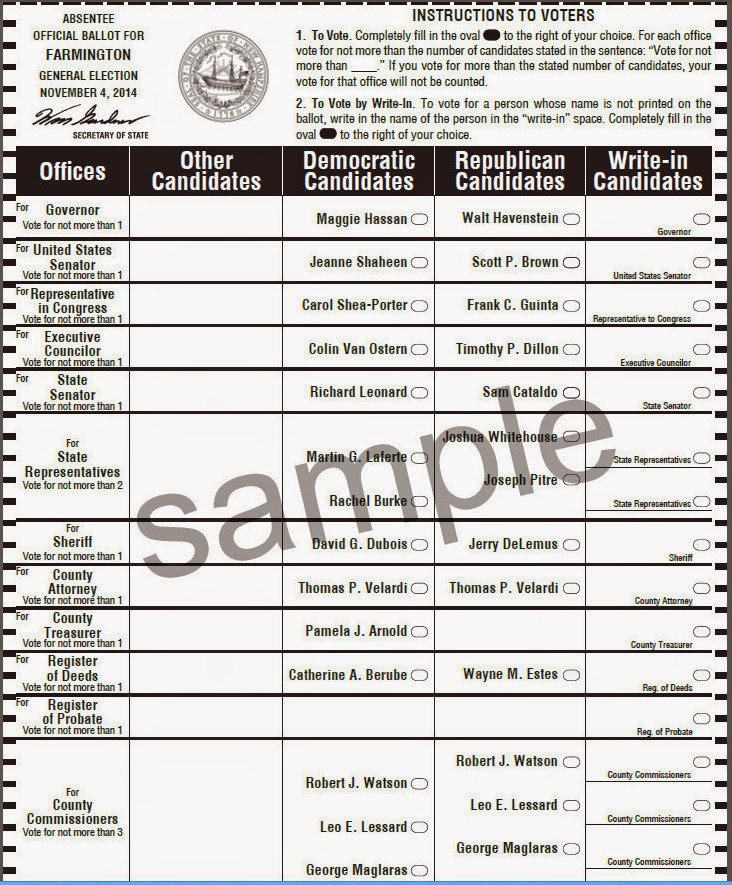 Sample ballots for londonderry, new hampshire primary.