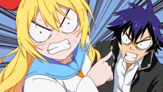 Chitoge Kirisaki i Raku Ichijou podczas jednej z wielu kłótni