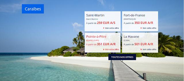 Vol Guadeloupe, Martinique, Saint Martin Cuba avec Air France
