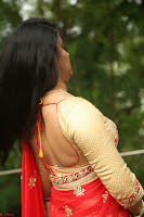 Akshara in Red Saree Golden Choli at LV Movie Makers Production No 1 Movie Opening ~  Exclusive 102.JPG