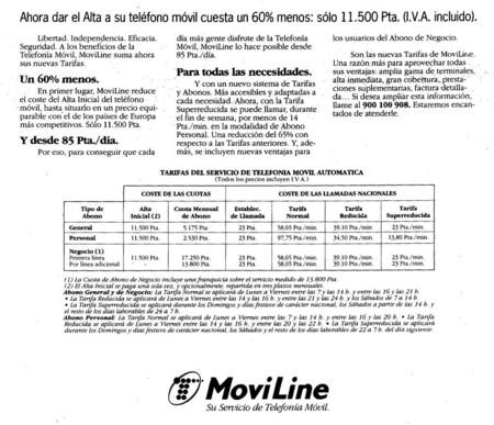 Tarifas Moviline en 1995