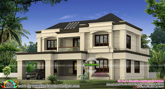 Modern colonial home kerala home design and floor plans for Colonial style house plans kerala
