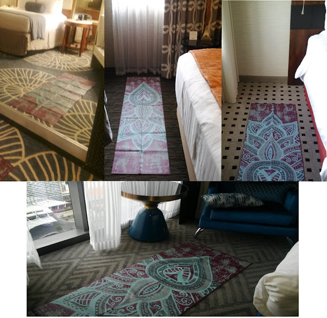 travel yoga mat in various hotel rooms