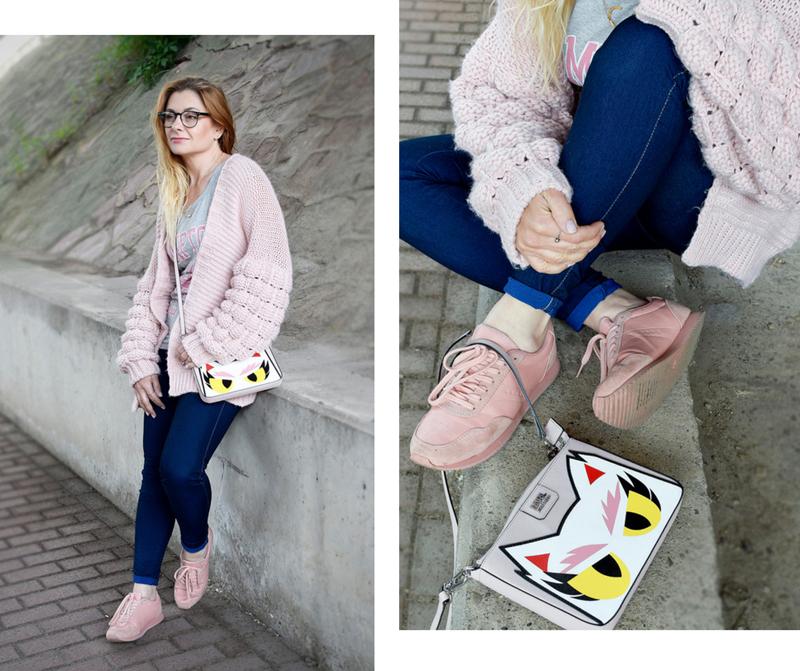 Wie style ich eine Strickjacke in Rose, Skinny Jeans