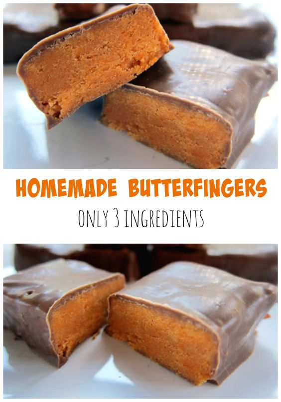 Homemade Butterfingers - only 3 ingredients!! Candy corn, peanut butter and chocolate. You will be blown away with these homemade candies! They taste just like the real thing!!! #butterfingers #candy #candyrecipe #dessert