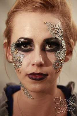 Steampunk makeup tutorial. How to glue gears to face for special fx makeup.
