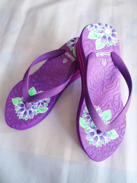 Sandal Merlin ASLI Spon IMPORT Tebal Print ungu