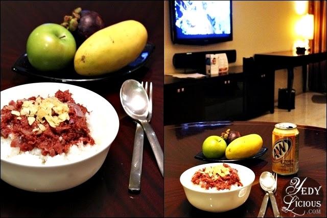 Enjoying comfort food at Oakwood Manila