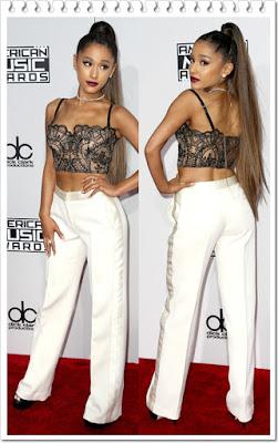 アリアナ・グランデ(Ariana Grande)は、アイディサリエリのレースハーフカップビスチェ、アレキサンダーマックイーンテーパードパンツとルーシーデイビスのアンクルブーツレザーブーツを着用。