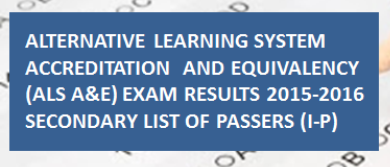 alternative learning system accreditation equivalency Provides information about alternative learning system of deped (als deped), als reviewer 2016 results of accreditation and equivalency exam (als a&e test.